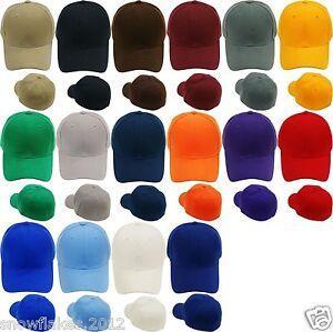 New-Plain-Baseball-Cap-Solid-Color-Blank-Curved-Visor-Hat-Size-7-7-3-4-8