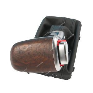 Auto-Matt-Wood-Gear-Shift-Gaiter-Knob-Boot-Leather-For-Audi-2012-2015-A6-C7-A7