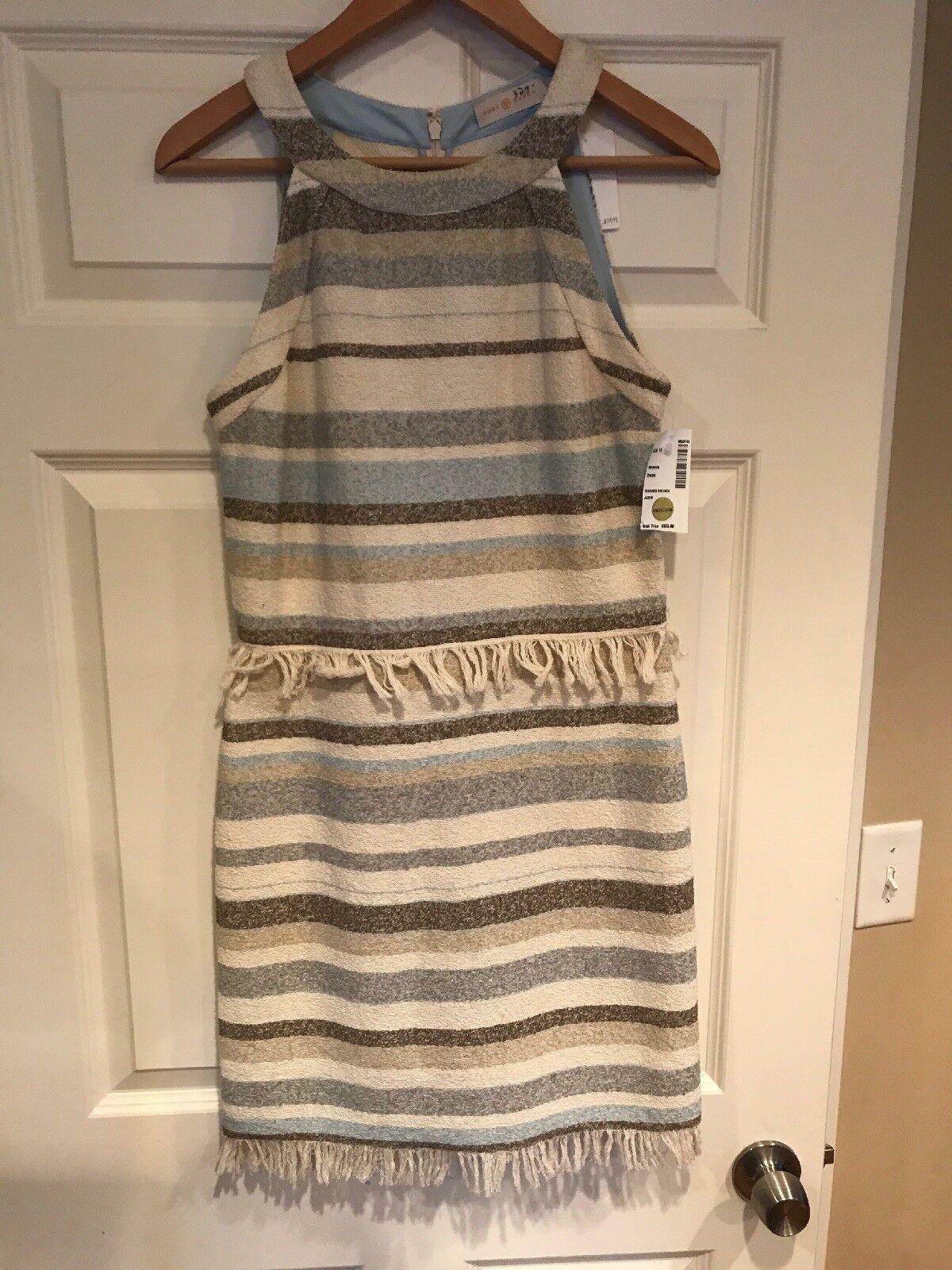Tory Burch Tan Blau Striped Fit-N-Flare Dress, Größe 4, New