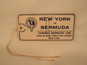 Vintage Antique Bermuda Line Monarch Steamer Ship Luggage Tag NYC 1930's