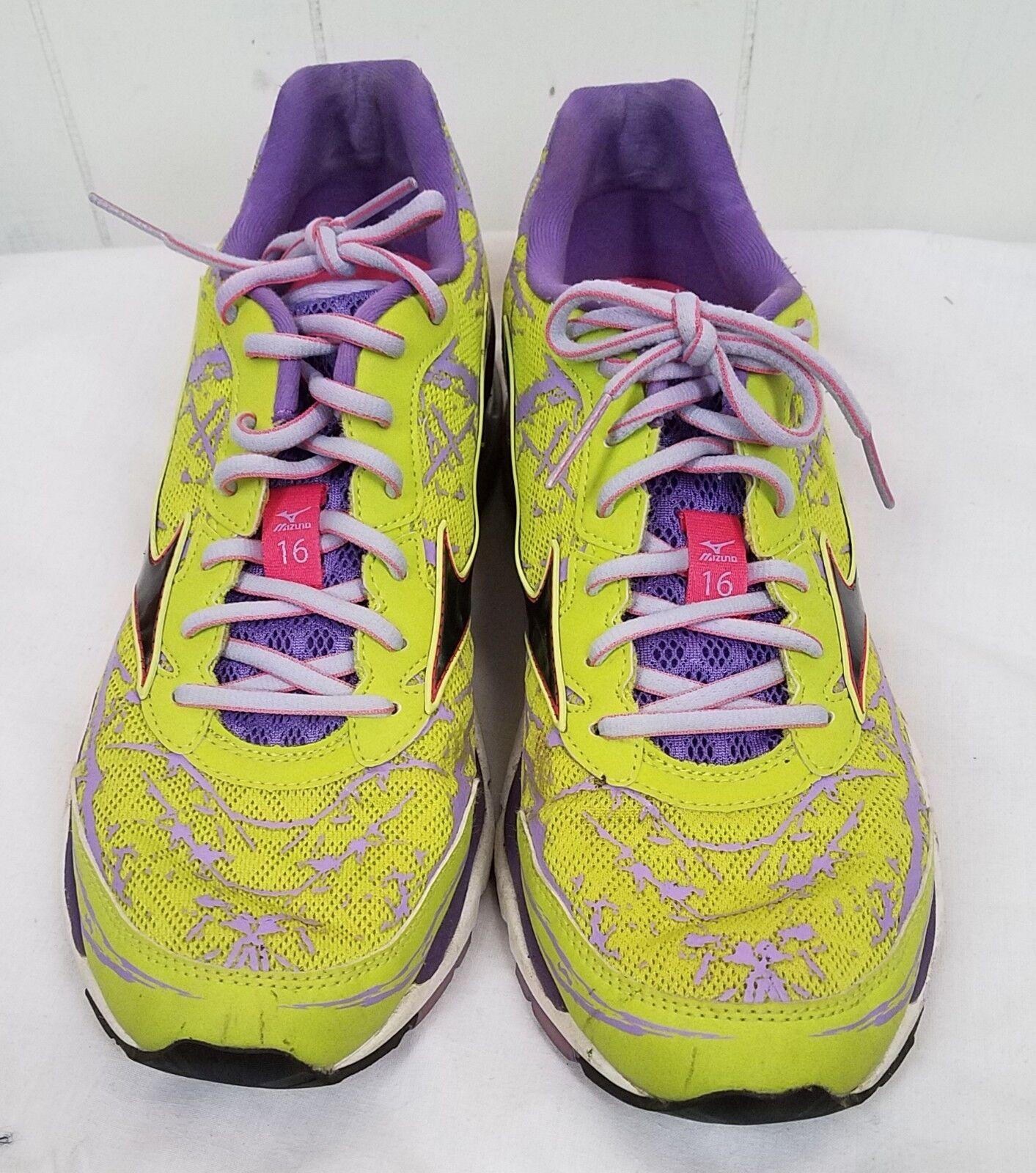Damenschuhe Mizuno Wave Creation 16 Running Schuhe Flash Yellow purple Größe 10.5