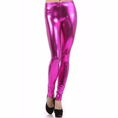 HOT PINK WOMENS SEXY FAUX LEATHER SHINY METALLIC STRETCH LEGGINGS WOMEN'S PANTS