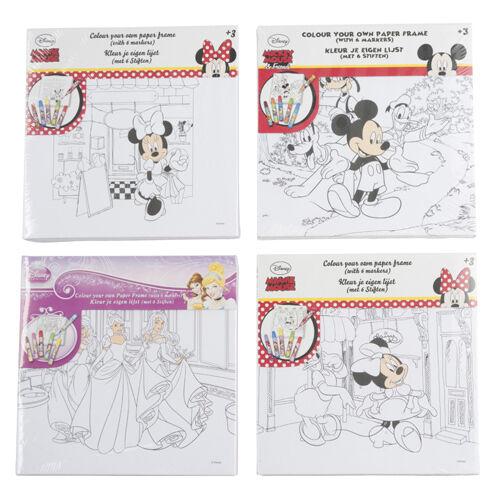 Kit Carta Tela Telaio da Colorare Più 6 Pennarelli Disney 4 Modelli Assorti