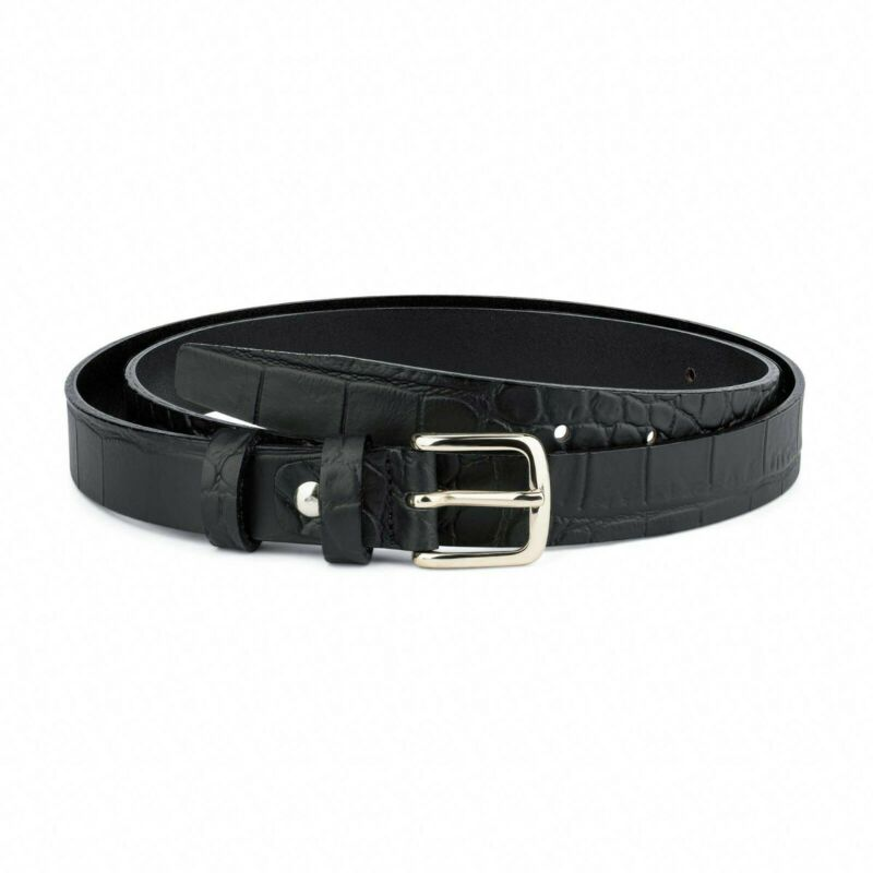 1 Inch Mens Leather Belt Black Croco Embossed 100% Genuine Thin Belts 25 Mm