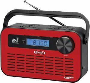 JENSEN Portable AM/FM Weather Radio with Weather Alert - Red