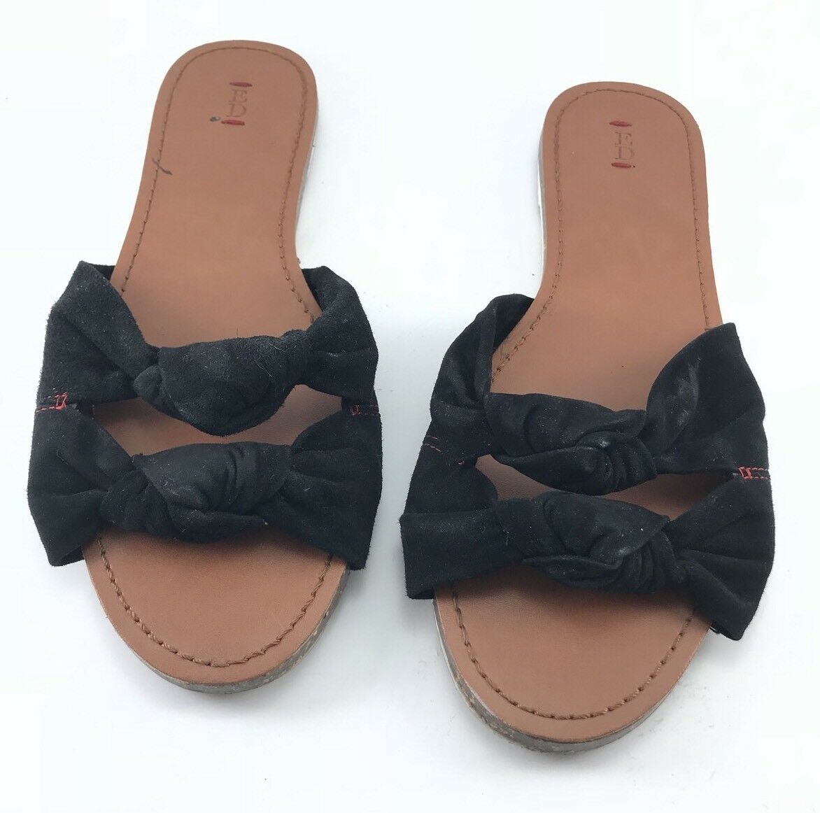 ED ELLEN DEGENERES Black SuedeBow Size Leather Womens Love Sandals Size SuedeBow 9 f096fa
