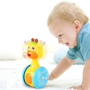 Baby-Rattles-Tumbler-Doll-Toys-Sweet-Bell-Music-Roly-poly-Education-Toys