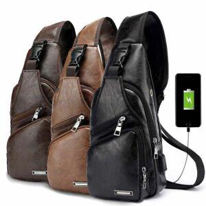 Mens Shoulder Bag Sling Chest Pack USB Charging Sports Crossbody Handbag US