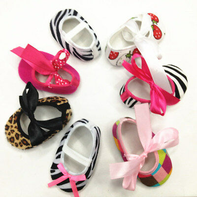 Lovely Baby Girl Newborns Zebra Leapord Print Damask Bow Cotton Crib Shoes 0-18M