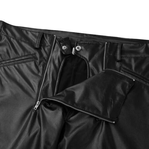 Mens Pants Motorbikes Cycling Faux Leather Tight Pencil Pants Zipper Trousers