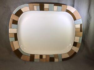 "Indochine Nate Berkus Large Oval Platter 15/""x12/"" Blue Brown White Rim Discont"