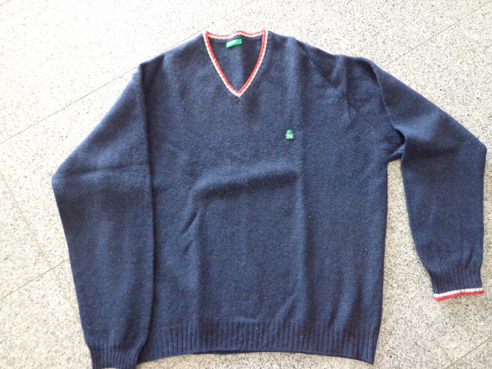 ♣ Pullover per Uomo da Benetton Taglia  XL; Blu scuro; PURA LANA VERGINE ♣