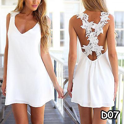 Damen Weiß Sommer Kleidung Minikleid Maxikleid Partykleid Strand Abend 34-48 Neu