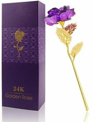 Rose Éternelle Violet Pétale Plaqué Or Fleur Artificielle Cadeaux Fête Des Mères Morbido E Leggero