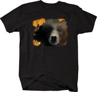 Tshirt -close Up Grizzly Bear In The Autumn Leaves