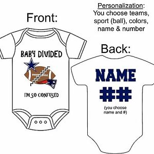 Personalized House Divided Football Basketball Fan Baby Kids T-shirt Bodysuit