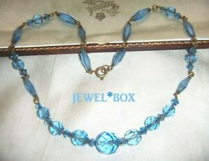 SIGNED-ART-DECO-CZECH-Blue-Crystal-Multi-Facet-Beads-VINTAGE-Wired-NECKLACE