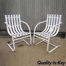 Pair Iron Strap Spring Patio Lounge Chairs Bouncer Mid Century Modern White Vtg