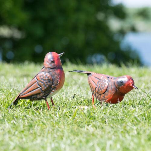 Set de 2 Red Robin 10 cm jardin en métal Ornements Outdoor OISEAU FIGURINE SCULPTURE
