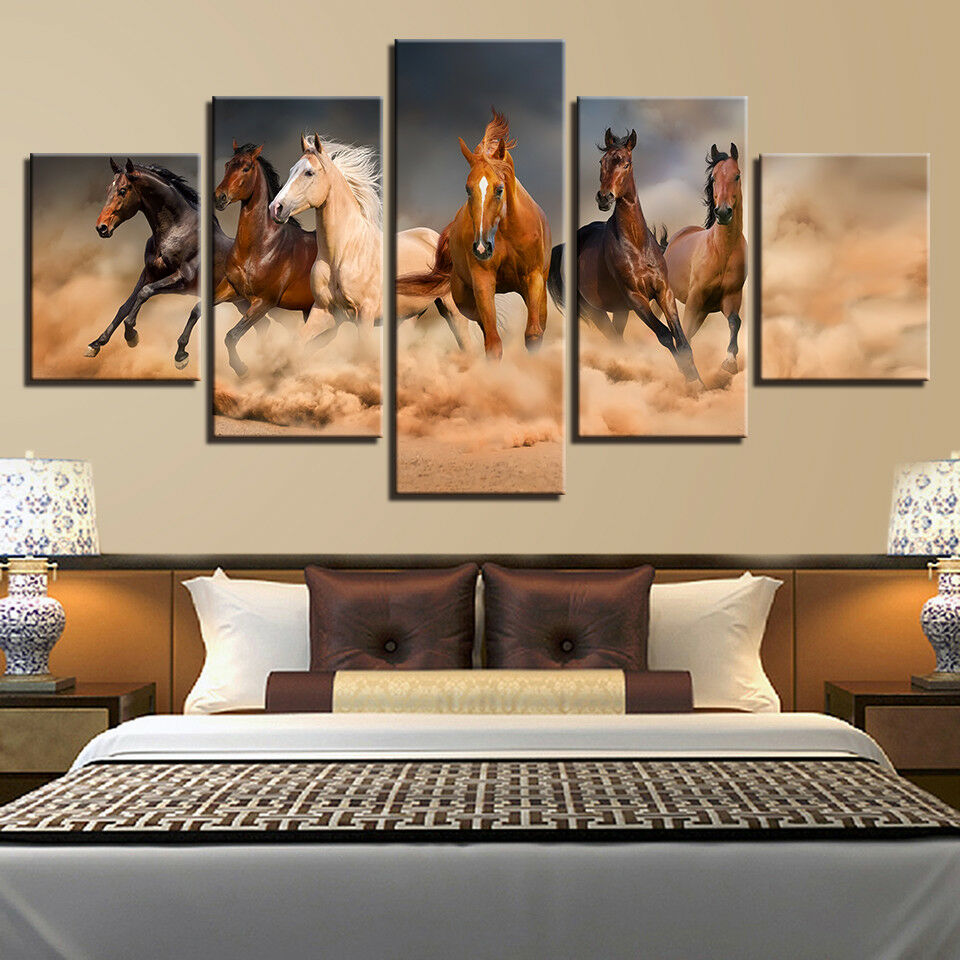 Galloping Horses Animal Painting 5 Piece Canvas Print Wall Art Poster