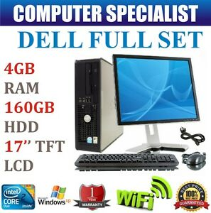 COMPLETE DELL DESKTOP PC INTEL CORE 2 DUO 4GB RAM DDR2 160GB HDD 17'' LCD TFT XP