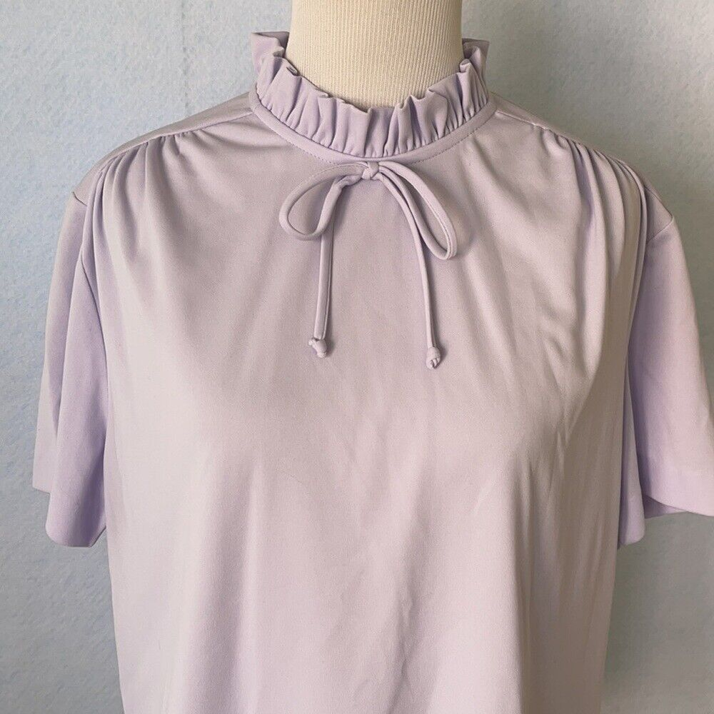 Graff Vintage Lilac Ruffled High Tie Neck Blouse,… - image 2