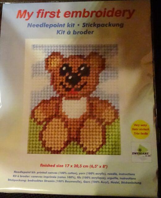 Stickpackung Bär  Gobelinstich Sticken für Kinder 9706