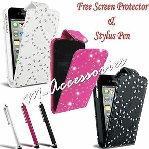 DIAMOND-BLING-DIAMANTE-FLIP-PU-LEATHER-CASE-COVER-POUCH-FOR-MAJOR-MOBILE-PHONES