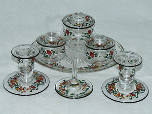 MAGNIFICENT-ART-DECO-STUART-ENAMELLED-GLASS-DRESSING-TABLE-SET