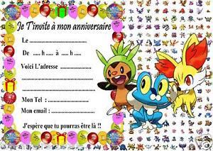 Beliebt 5 cartes invitation anniversaire Pokemon X & Y 023 d'autres en  UR37