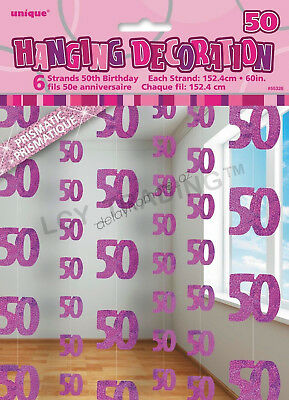 50th Birthday Party 6 Glitz Pink Hanging String Door Curtain Decorations 15m 50