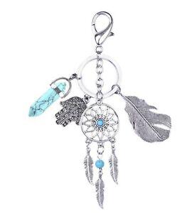 Women-Bohemia-BOHO-Feather-Dream-Catcher-Turquoise-Key-Ring-holder-Keyring-gift
