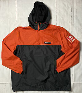 Men's Timberland  Pullover Windbreaker Jacket Black/Orange TB0A1WX3-W44 Size XXL