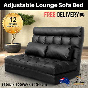 Image is loading Black-Lounge-Sofa-Bed-Double-Floor-Recliner-Chair-  sc 1 st  eBay & Black Lounge Sofa Bed Double Floor Recliner Chair Futon Couch ... islam-shia.org
