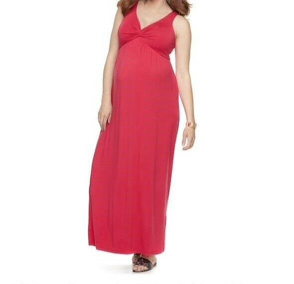 Small Maternity Dress New A Glow Knot Front Full Length Pink Maxi Gown 4 6 Kohls For Sale Online