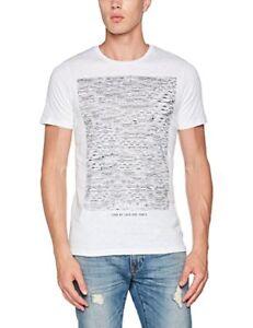 JACK-amp-JONES-uomo-jcomako-TEE-SS-T-shirt-girocollo-in-Bianco-UK-SZ-X-Large-NUOVO