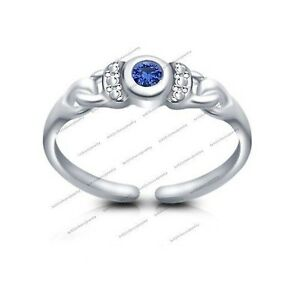 .925 Silver Blue Sapphire Channel-Set Solitaire Toe Ring