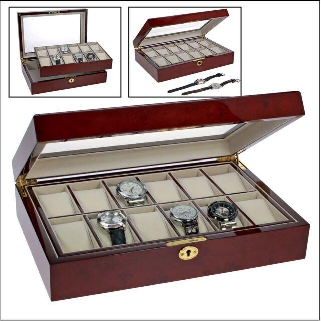 Safe Cassetta Orologi Ais Nobile Lackholz per 12 Orologi 360x238x76m (260)