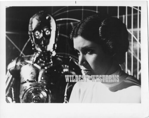CARRIE FISHER is PRINCESS LEIA w C3PO Rare Photo VINTAGE ORIGINAL Star Wars
