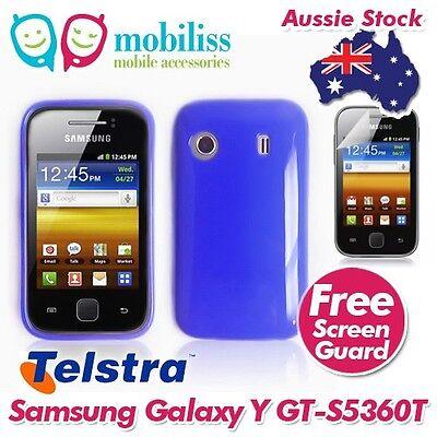 Dark Blue TPU Gel Jelly Case Cover for Telstra Samsung Galaxy Y GT S5360T