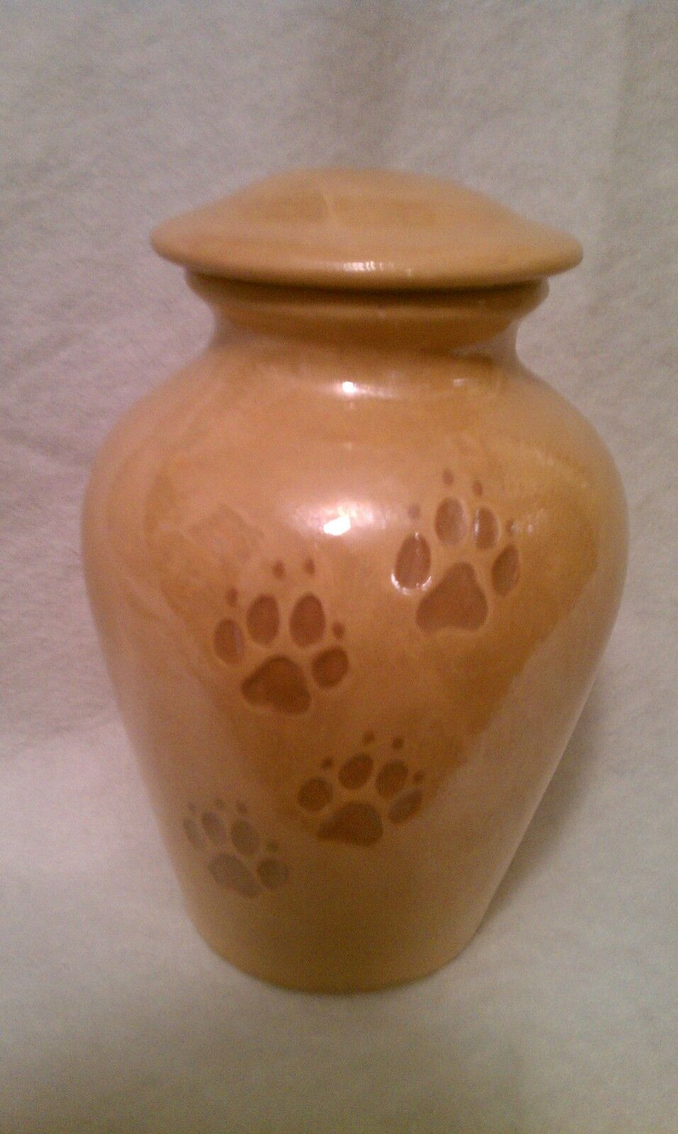 NEW SMALL Pet dog PAW PRINT URN Cremation ashes  Carmel pearl color MADE IN USA
