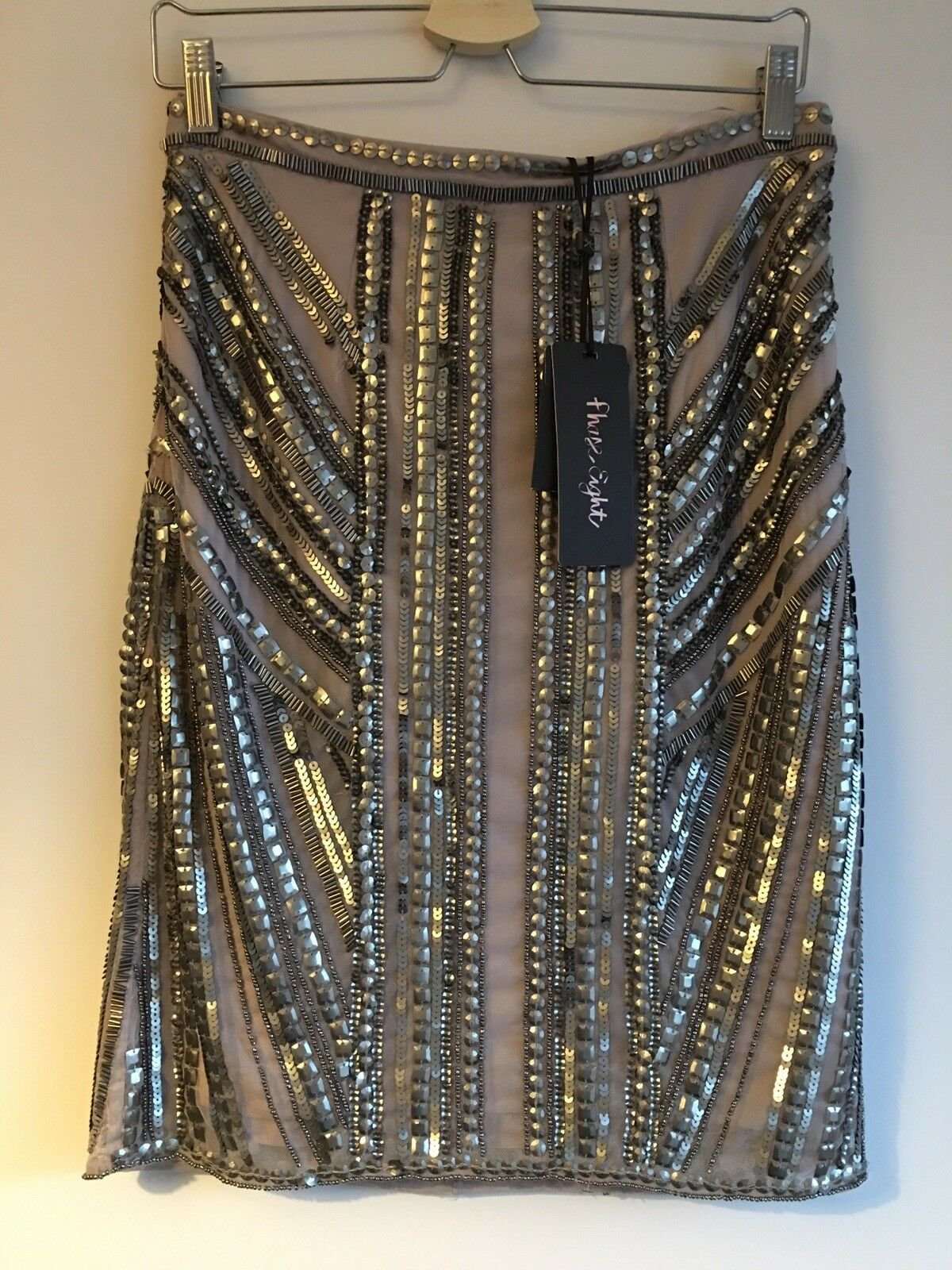 Phase Eight Taupe Beaded Embellished Skirt Size 10 Rrp