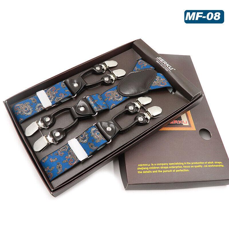 125cm Mens Adjustable Brace Y-Shape Suspenders Width 3.5cm 6 Clips Multi-colour