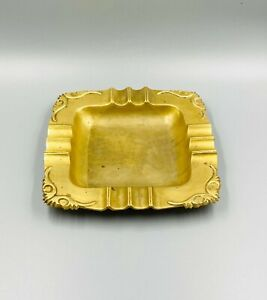 """VTG Ornate Solid Brass 6"""" x 6"""" Ashtray-Made in India/Hollywood Regency/Gift Idea"""