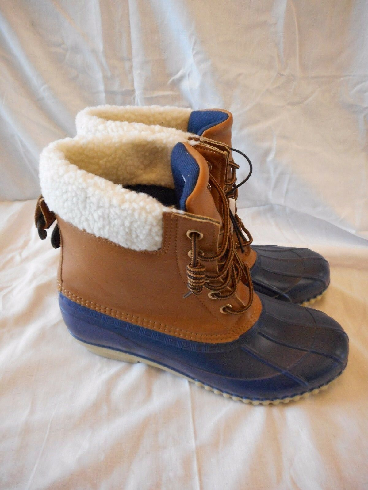 Women's Rue 21 Blue & Brown Rubber Boots Size Large 8/9 NEW Water Resistant
