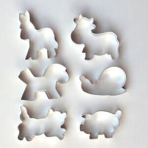 Ausstecher-Ausstechform-6er-Set-Katze-Schwein-Kuh-Esel-Pferd-Schnecke