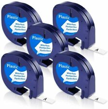 5pk 91331 Label Tape Compatible Dymo Letratag Refill Black On White Plastic 12mm