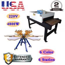 6 Color 6 Station Screen Printing Machine 220v 4800w Conveyor Tunnel Dryer