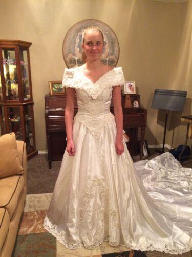 Wedding Dress, Vintage 80's Off-shoulder With Long