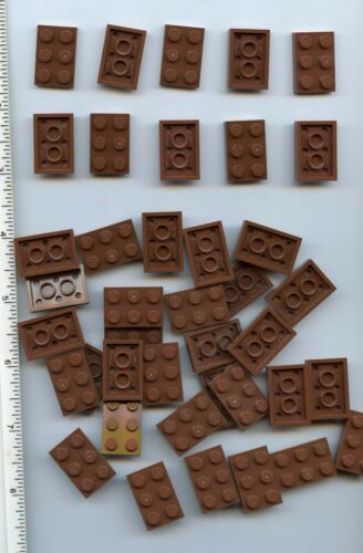 LEGO x 40 Reddish Brown Plate 2 x 3 NEW bulk lot